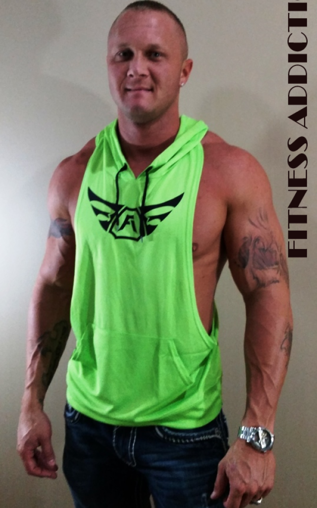 4ccb2b8ea9f6a2 Men s neon green Sleeveless Polyester Hoodie RIPPED STRINGER black wings
