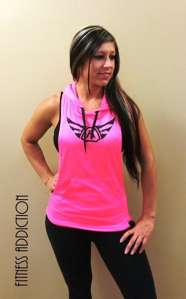 2a18a538174f11 Womens Neon Pink Sleeveless Hoodie Y-Back RIPPED STRINGER